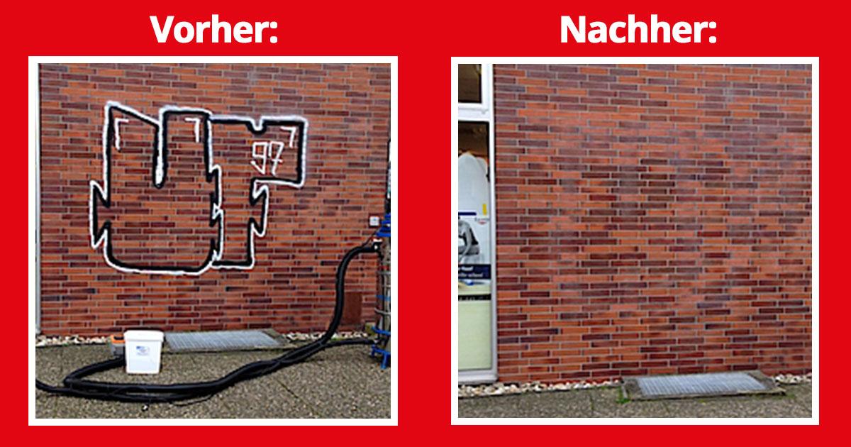Graffiti entfernen auf Backstein