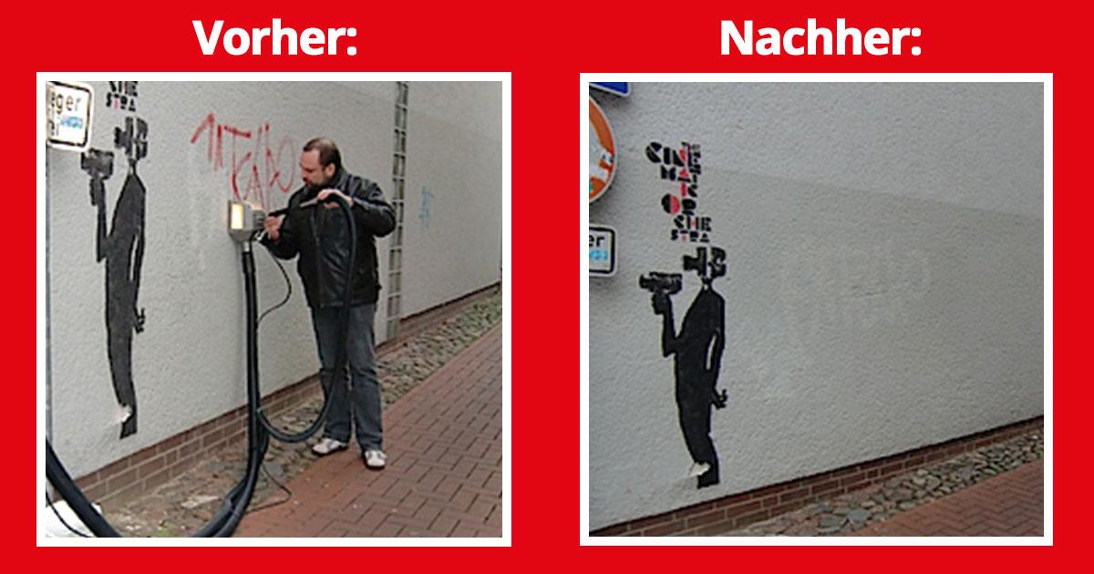 Graffiti entfernen auf Putz-Systemen